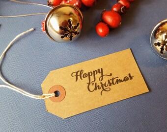 A set of 10 Happy Christmas gift tags / Christmas gift tags / Xmas Gift tags / Holiday gift Tags / Handmade Gift tags / Kraft Gift Tags