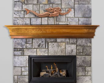 Mermaid with Starfish Pure Copper Weathervane Sculpture on Mantel Stand: Nautical Home Décor