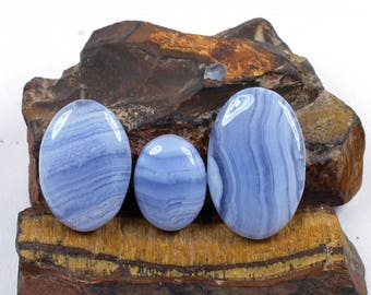 3 Pcs of 93cts, 36x24mm Natural Blue Lace Agate Cabochons Handmade Blue lace agate Jewelry Making Gemstone, Blue lace agate pendant #SKU558