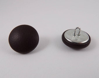 6 20mm black leather covered buttons