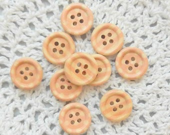 10 Light Pink Stripe and Polka Dot Buttons, Wooden Buttons, 4 Hole Buttons, Cardmaking Buttons, Scrapbooking Buttons, Craft Buttons, 15 mm