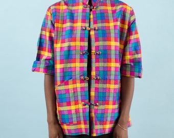 Kimono, Vintage Jacket, Plaid Jacket, Colorful, Womens Jacket, Rainbow, 90s Clothing, Vintage 90s, 90s Jacket, Colorful, Kitsch, Silk Jacket