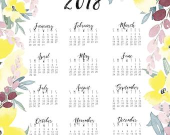 2018 Watercolor Calendar - 12 month - 13 x 19