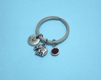 Personalised elephant keychain Elephant accessory Lucky keychain Elephant keyring Elephant key chain Elephant gift Birthstone keychain