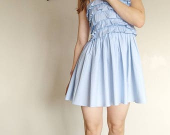 The 'Cecy' Dress-handmade clothing-ruffled bodice-gingham dress-vintage inspired clothing-shoulder strap bows