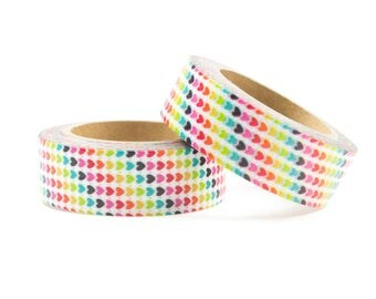 Rainbow washi tape with hearts