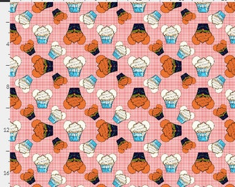 Frozen Cupcakes on Pink Plaid seamless digital image - fabric - scrapbook paper - gift wrap - 300 DPI - High Resolution