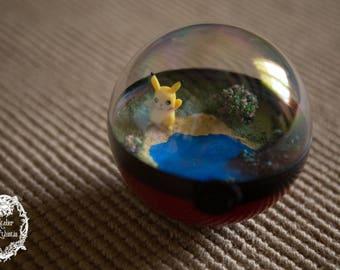 Terrarium Pokeball - Pokemon Pikachu four seasons - diameter 10 cm