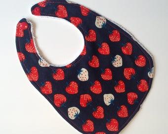Strawberry patch strawberry print terry-lined baby bib
