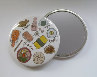 Illustrated Japanese inspired Sushi Pocket Mirror/ Compact Mirror 76mm