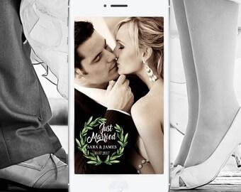 Greenery Wedding Snapchat Filter Custom Wedding Geofilter Elegant Snapchat Filter Just Married Snapchat Geo Filter Snap Chat Geotag Geo Tag