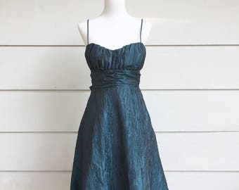 90s Teal Holiday Party Dress with Sweetheart Neckline and Tulle