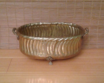 Brass footed bowl planter