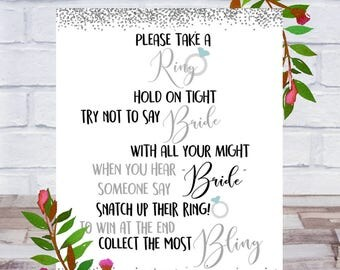 Don't Say Bride, Bridal Shower Game, Printable, Take a Ring Game, Bling, Bachelorette Party Sign Size 8x10, Silver, Instant DIGITAL DOWNLOAD