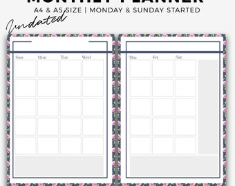 Undated monthly printable planner, calendar planner, MO2P, planner pages, kiki inserts, A5 inserts, A4 monthly calendar, instant download