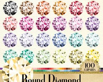 100 Round Diamond Clipart, Diamond Clipart, Round Shape Clipart, Valentine Clipart, 100 PNG Clipart, Planner Clipart, Wedding Clip Arts