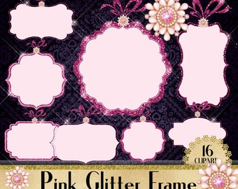 Pink Glitter and Jewelry Frame, Sparkle Frame Clipart, Glitter Frame for Royal, Christmas, Instant download,Commercial Use, Planner Clipart