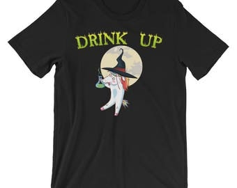 Halloween Horror Stories - Funny Unicorn Dabbing, Halloween Shirts, funny halloween costume, halloween cat costume, drink up witches t-shirt