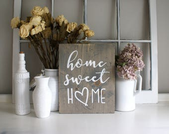 Home Sweet Home Rustic Wooden Sign  |  Hand Lettered  |  Home Decor  |  Gift Idea  |  Farmhouse Style