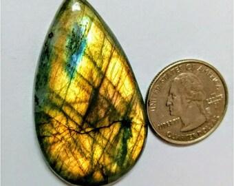 51.02x29.47 mm,Pear Shape,Labradorite Cobochon/Golden Flash /wire wrap stone/Super Shiny/Pendant Cabochon/Semi Precious Gemstone/silverJewl