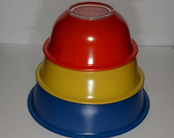 PYREX, Primary, Fiesta Color, Clear Glass, Mixing Bowl, Blue, Red, Yellow, Set of 3, Vintage