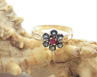 Sapphire and Ruby Sterling Silver Cluster Ring/Vintage/Handmade/Free Shipping US/September Birthstone/Birthday/Christmas/Valentine