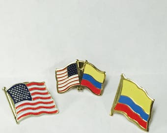 Colombian - American Flag Pin Set