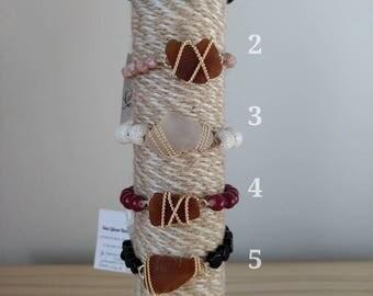 6.5 Inches-Stretch Bracelet- Beaded Bracelet-Sea Glass Bracelet-Gold Bracelet-Layering Bracelet-Handmade Jewelry