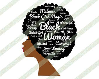 Afro Lady SVG, PNG, JPEG, Kinky Hair, Word Art Typography Natural Hair Art for African Americans Black Woman Digital Download