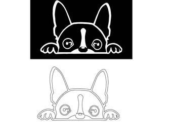 Boston Terrier Peeking SVG Vector Download for Silhouette studio, Cricut, craft robo , SCAL, adobe illustrator.