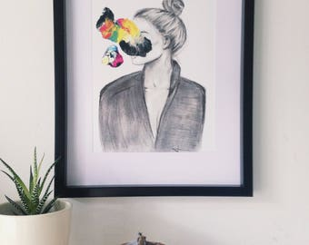 Semi Abstract PRINT, female portrait, giclée, coat, Originally made with acrylic paint and charcoal pencil, black, white, rainbow