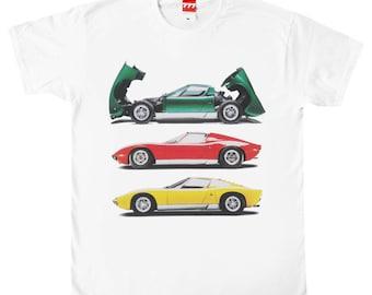 Lamborghini Miura X 3 tshirt vintage classic car supercar italian design italy