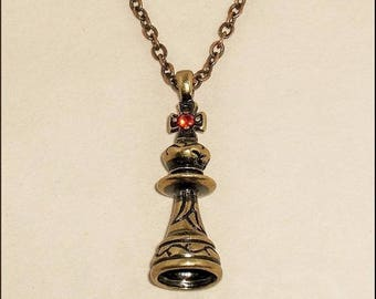 """Jewelry pendant """"Lighthouse"""" with small crosses and Crystal Red 35 mm color Antique gold brass"""