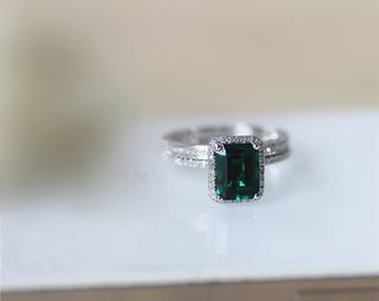 14K Solid Gold Ring Sets/6x8mm Lab Created Emerald Center/Bridal Sets/Anniversary Ring/Promise ring/White Gold Ring Sets