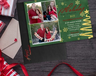 Christmas Mini Session Template - Photography Marketing Board - Christmas Minis - Photoshop Template for Photographers, INSTANT DOWNLOAD