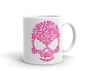 Pink Hibiscus Floral Skull Coffee Mug Gift Idea