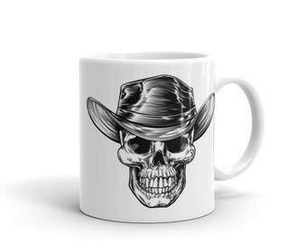Country Cowboy Skull Print Halloween Scary Coffee Mug