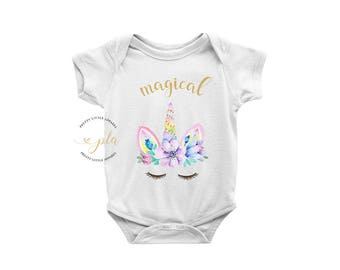 Unicorn Bodysuit, Unicorn, Baby Shower Gift, Unicorn Baby, Unicorn Outfit, Baby Girl Gift, Baby Bodysuit, Unicorn Birthday, Bodysuit, Girl