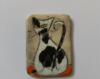 Ceramic cat magnet