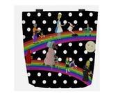 Black and White Polka Dot Tote Bag Fairy Tale Rainbow - PInocchio, Alice in Wonderland, a Mermaid, Red Riding Hood, Hansel n Gretel