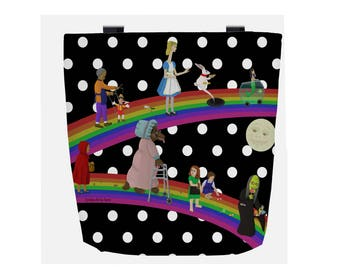 Black & White Polka Dot Fairy Tale (Everyday Use) Tote Bag with Rainbow