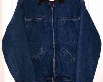 Vintage Levi's Denim Jacket Corduroy Collar Fleece Lined Mens Size Small