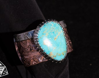 Sterling Silver & Copper Turquoise Cuff | Wide Band Cuff | Kingman Blue Turquoise | Hand Stamped | Sterling Silver | Copper | Bracelet