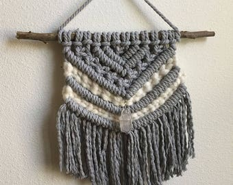 Grey and White Macrame Wall Hanging with Wire Wrapped Quartz Crystal, Medium Woven Wall Hanging, Tapestry, Boho Hippie Tapestry Wall Hanging