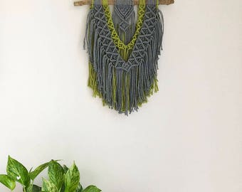 Pistachio Green and Gray Macrame Wall Hanging on a Foraged Branch, Woven Wall Hanging, Boho Hippie Tapestry, Bohemian Decor, Statement Piece