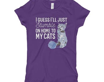 Kids Size Taylor Swift shirt, I Guess I'll Just Stumble On Home to My Cats, Gorgeous Lyric from Reputation, Taylor Swift fans Girl's T-Shirt