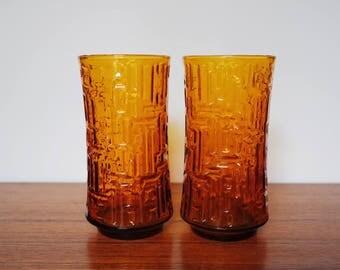 Libbey Amber Artica Tumblers / Glasses Set of 2 Vintage Glassware / Barware