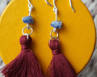 Maroon tassel earrings with Sodalite chip. Dangle drop earrings. Tassel fashion. Silver plated copper. Perfect stocking filler.