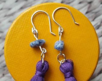 Purple tassel earrings with Sodalite chip. Dangle drop earrings. Tassel fashion. Silver plated copper. Perfect stocking filler.