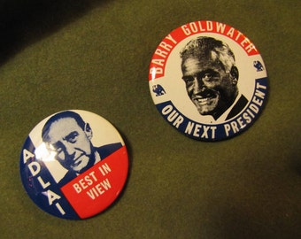 Set of 2 Vintage Political Campaign Buttons made by Kleenex Tissue in 1968 Barry Goldwater and Adlai Stevenson